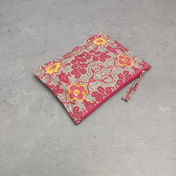 Pink and Grey Hued Floral Medium Canvas Pouch