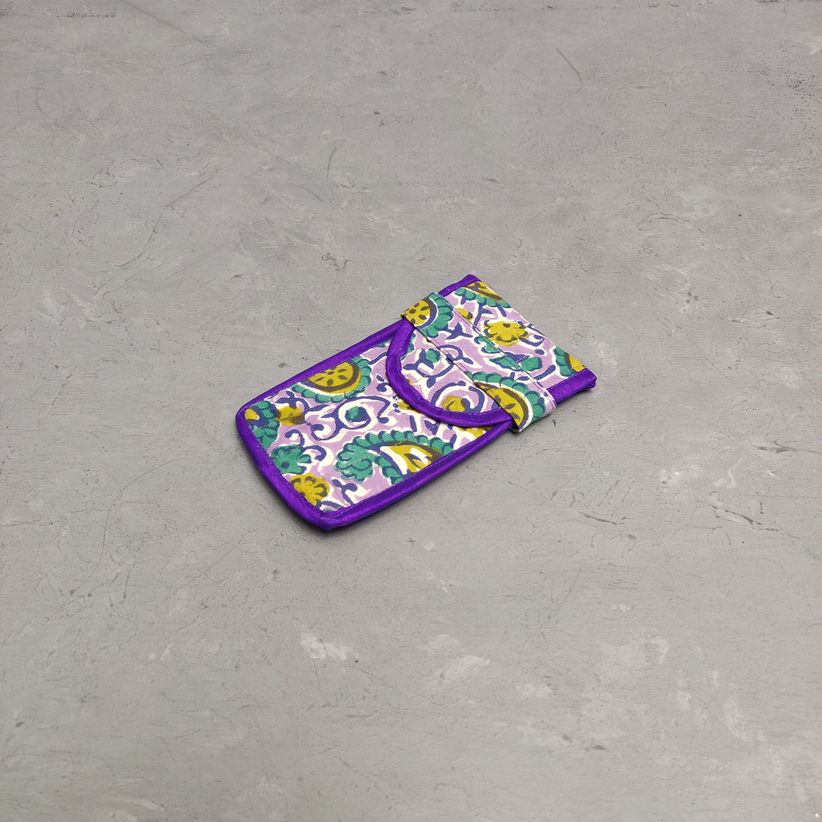 Handblock Printed Spec or Mobile Pouch AMP17