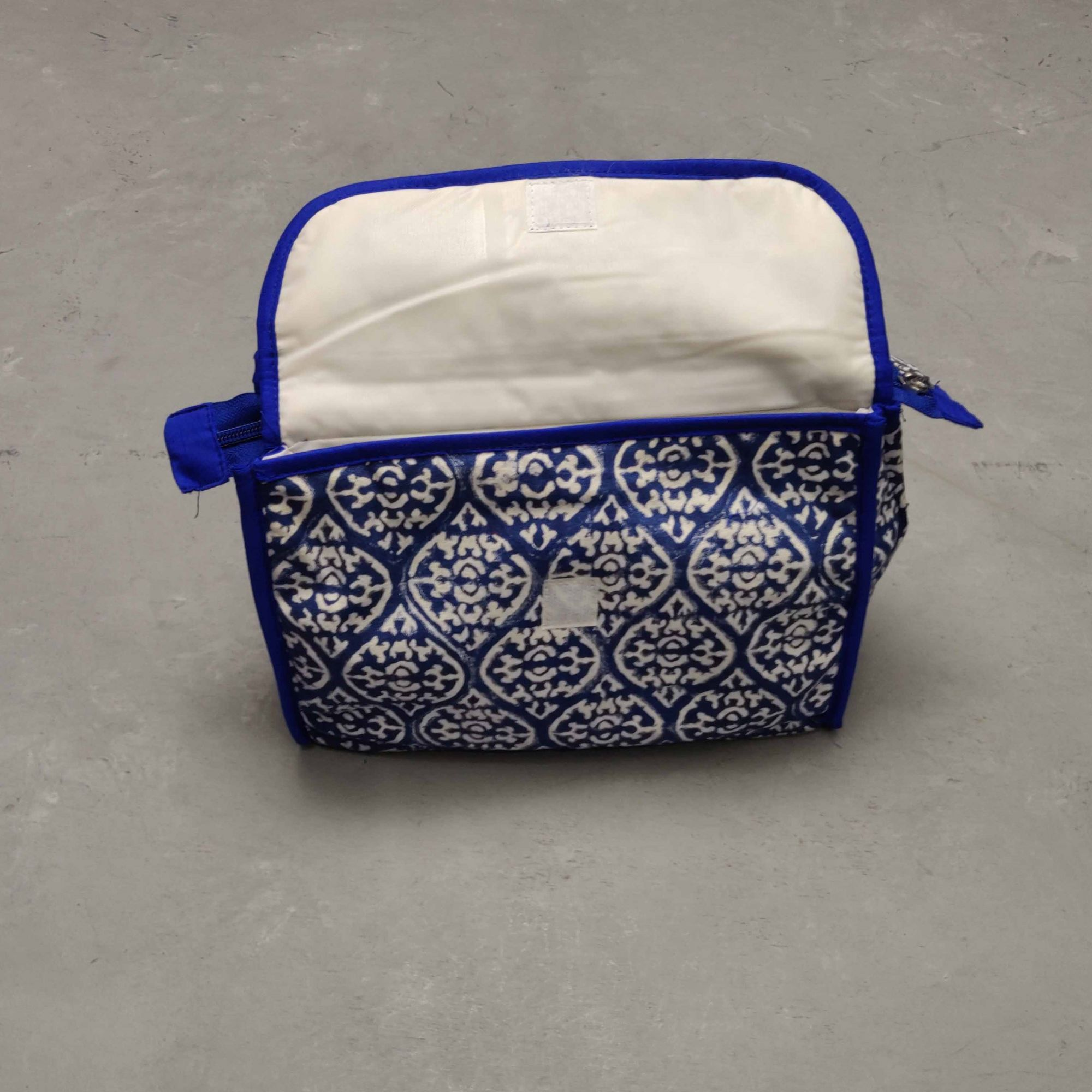 Blue Print Blue Piping Twin Toilet Pouch
