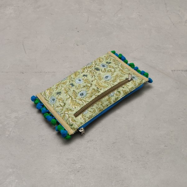 Olive Green and Blue  Based Wallet