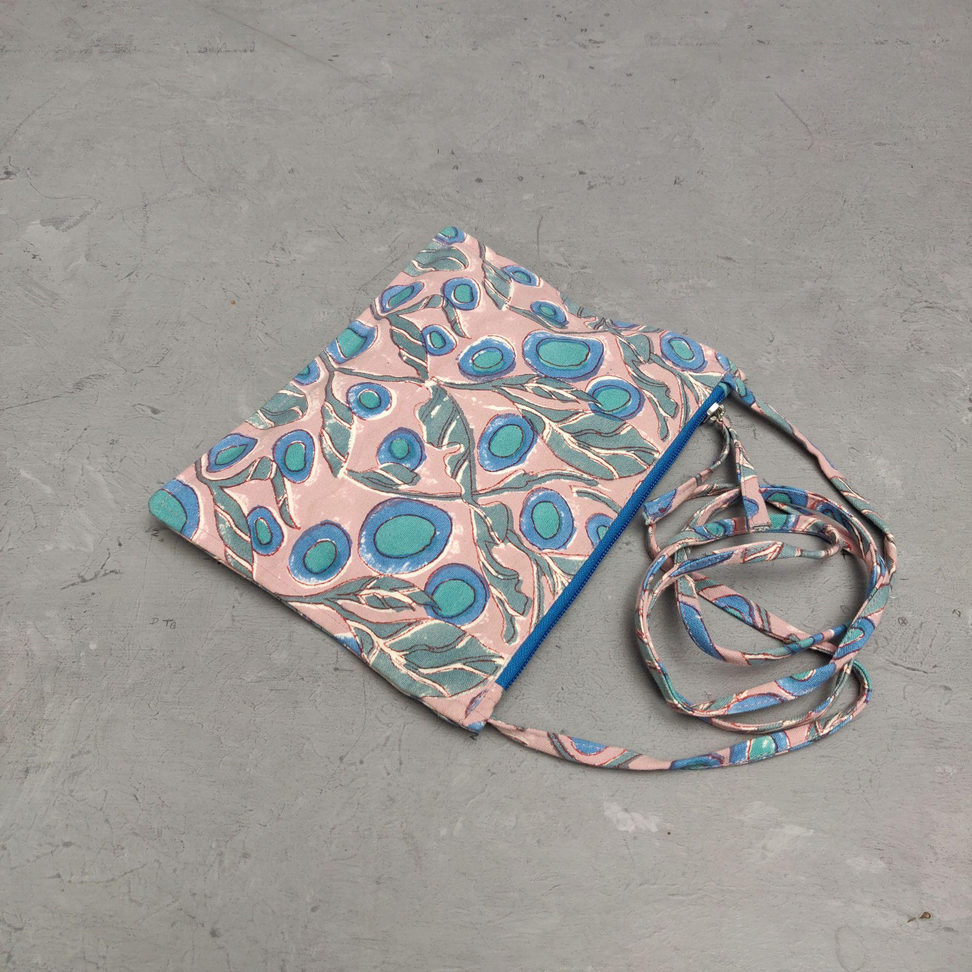 Peach Based Blue Motif Canvas Sling Bag