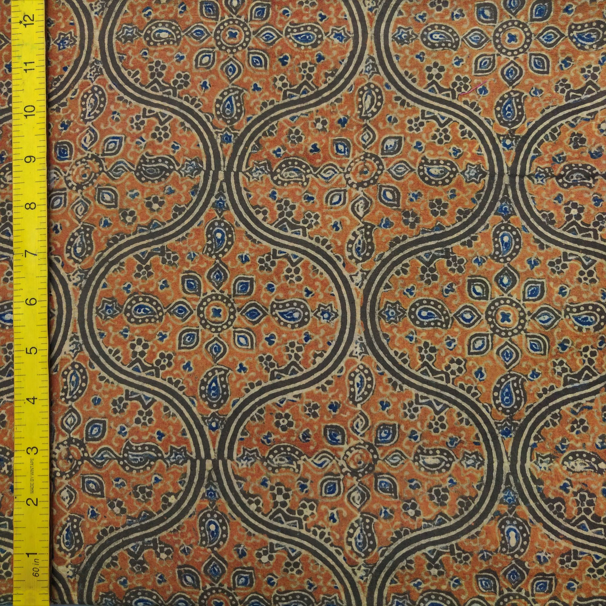 Ajrakh Cotton Handblock Fabric JMF201