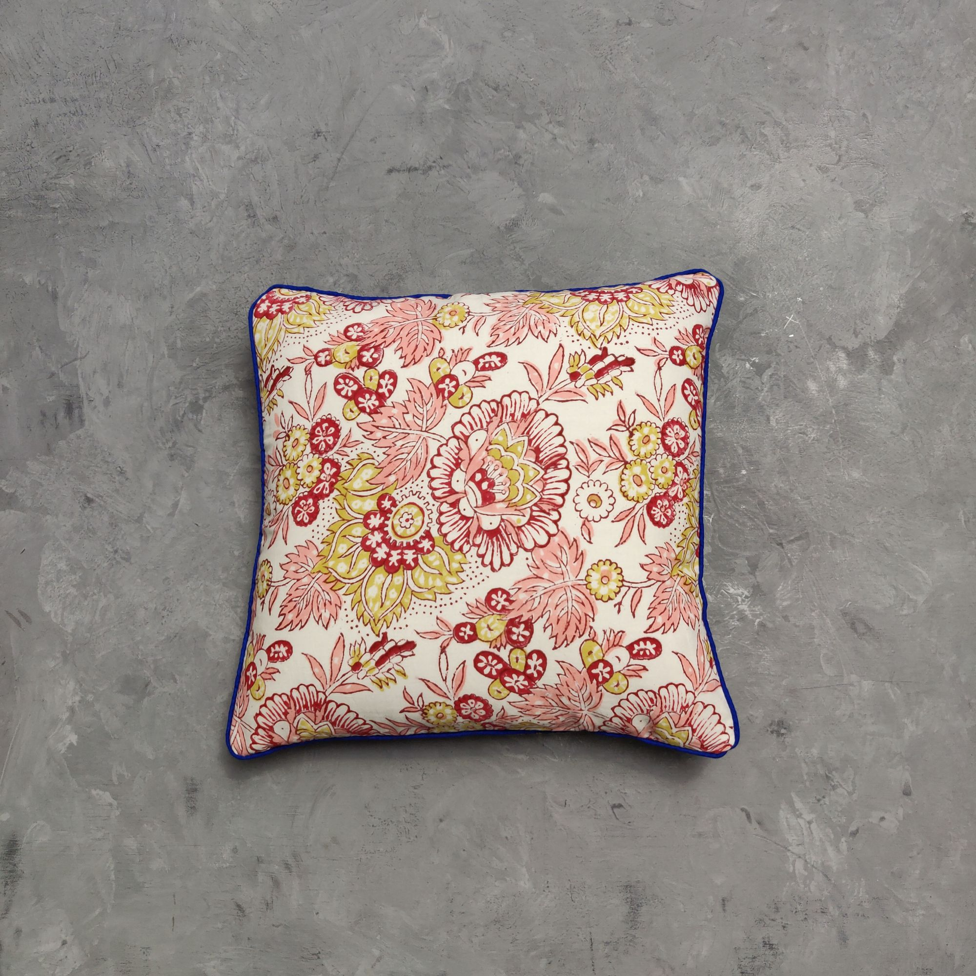 Reversible Handblock Printed Cushion Cover 12X12 C7