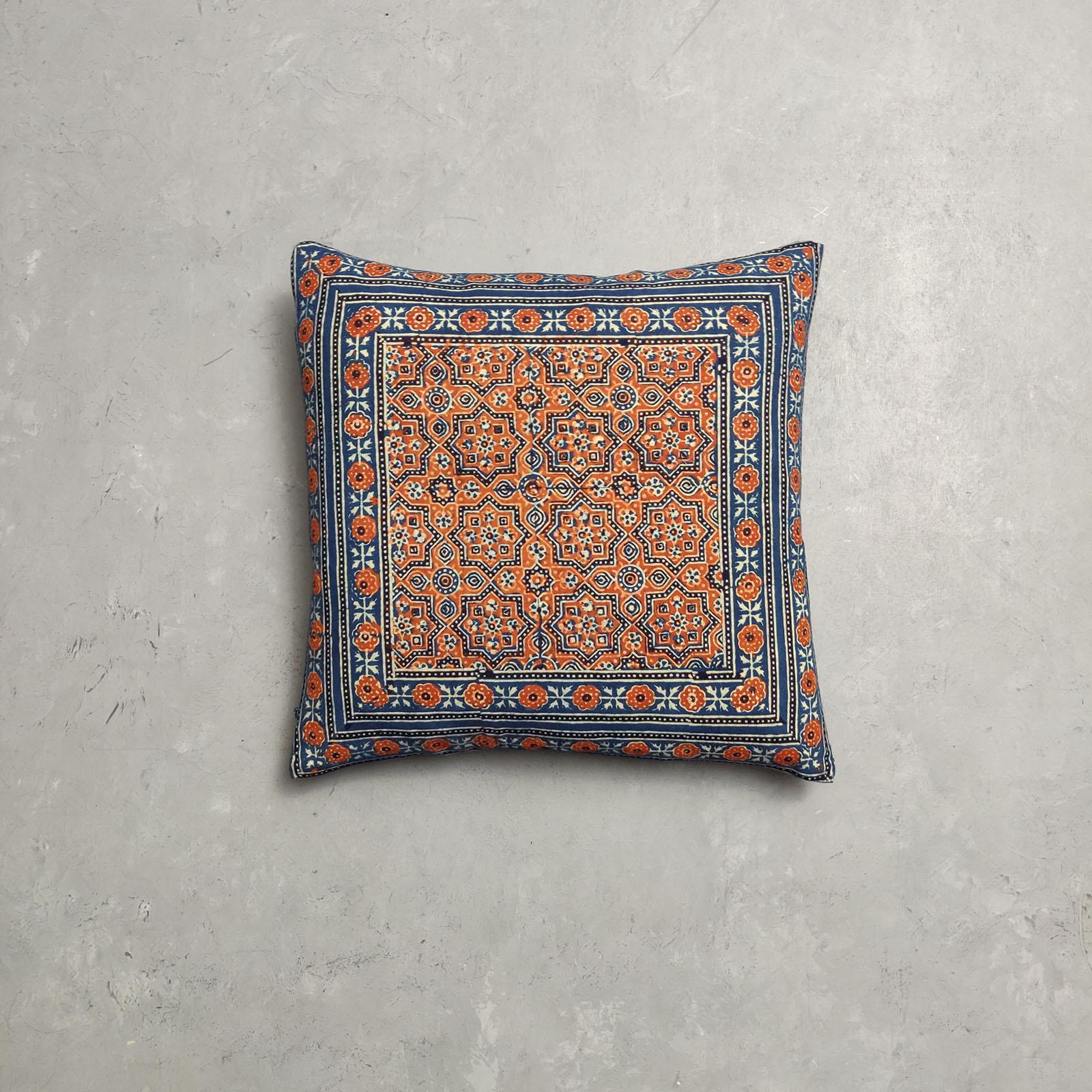 Reversible Ajrakh Handblock Printed Cushion Cover CC100