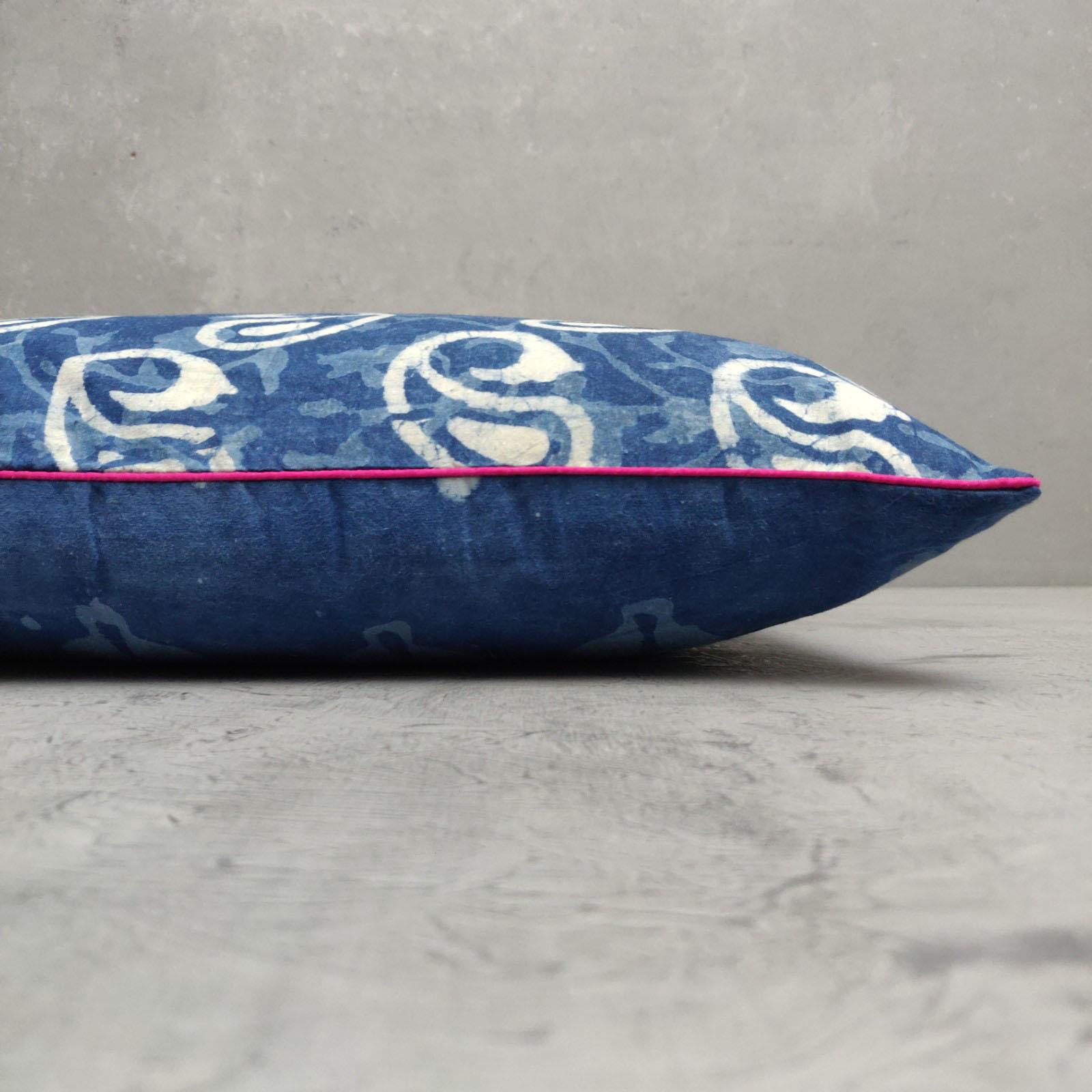 Reversible Indigo Handblock Printed Cushion Cover CC124