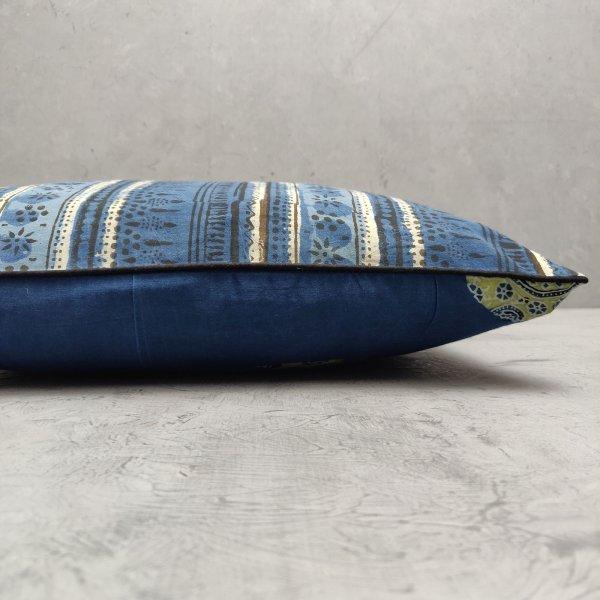 Reversible Indigo Handblock Printed Cushion Cover CC19