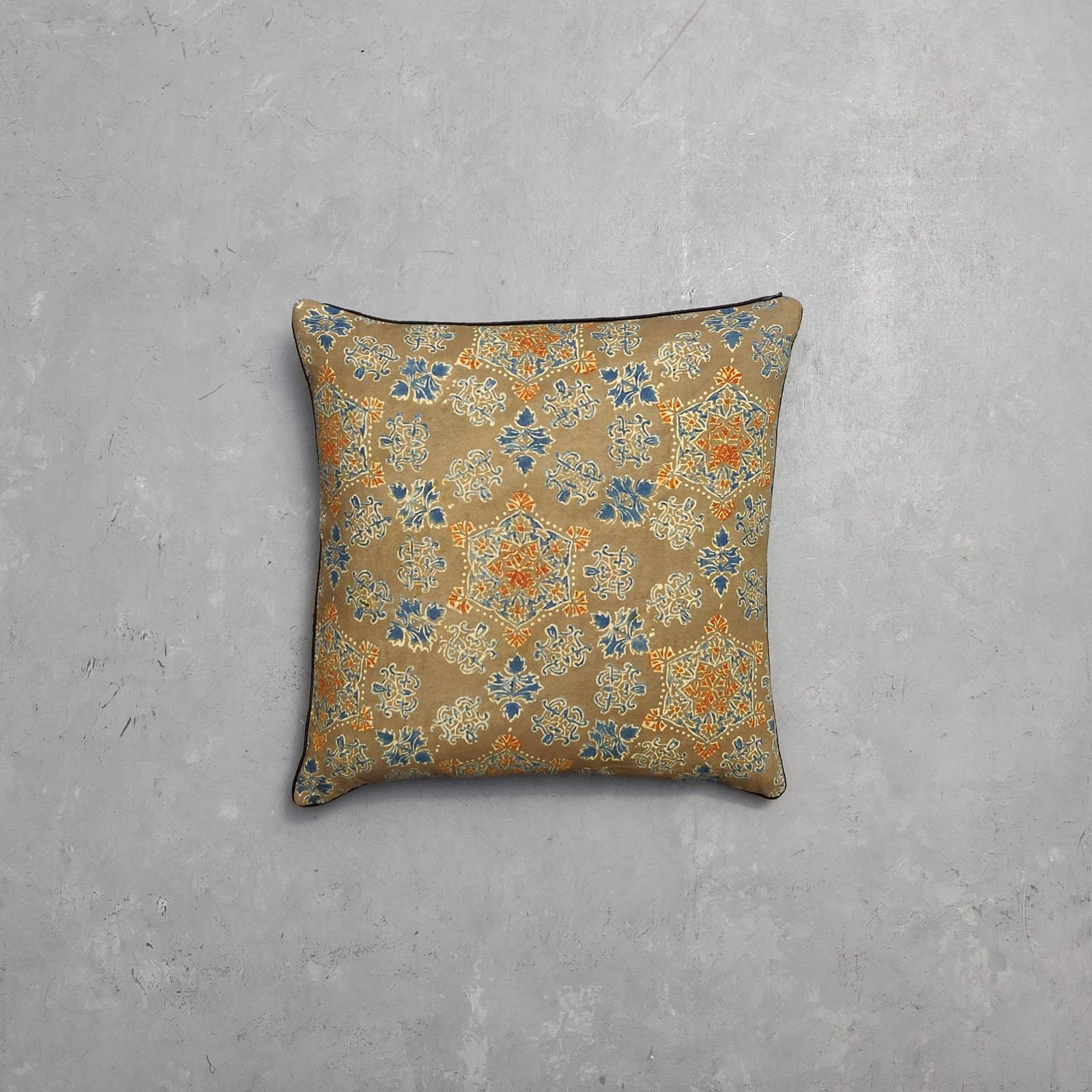 Reversible Ajrakh Handblock Printed Cushion Cover CC29