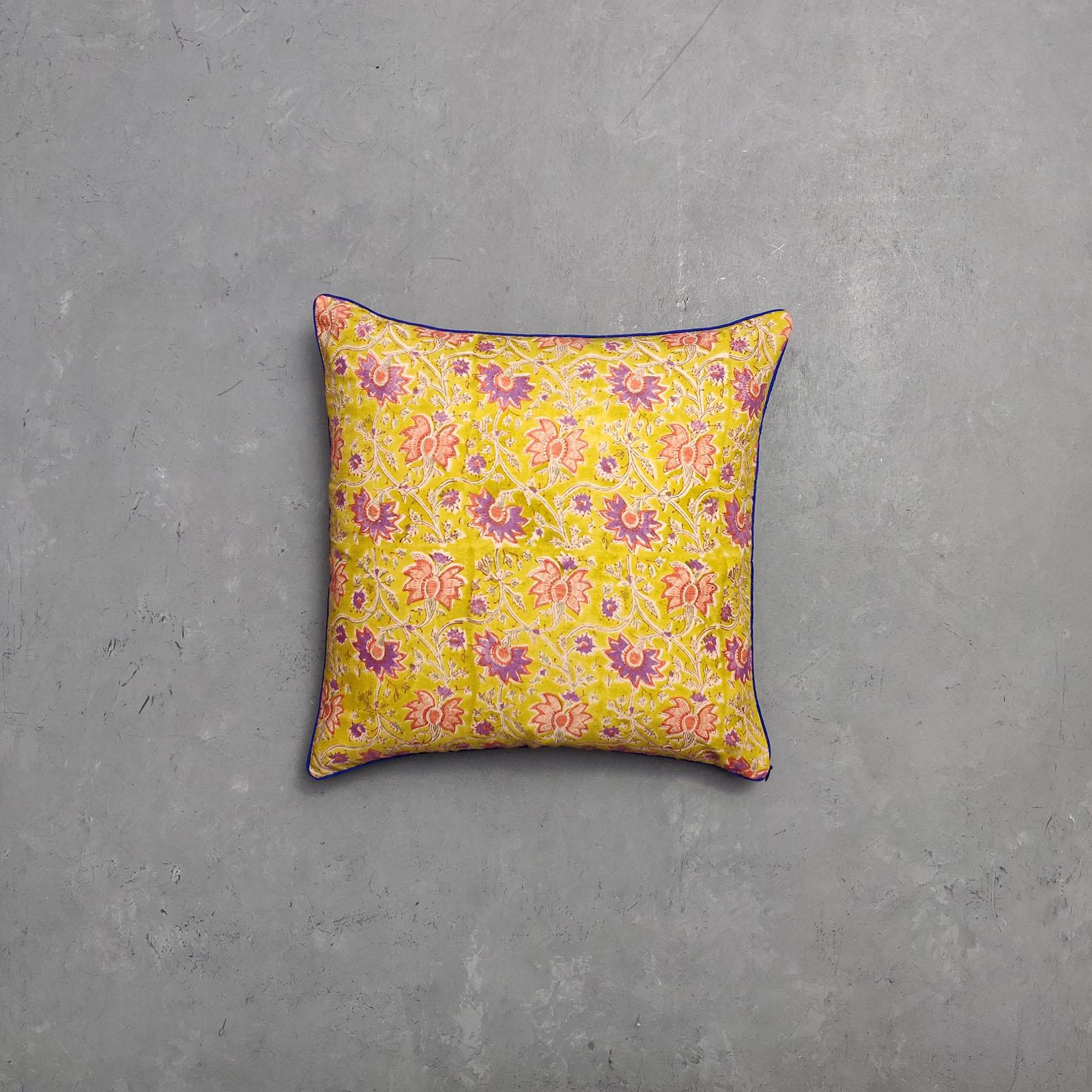 Reversible Multi Handblock Printed Cushion Cover CC38