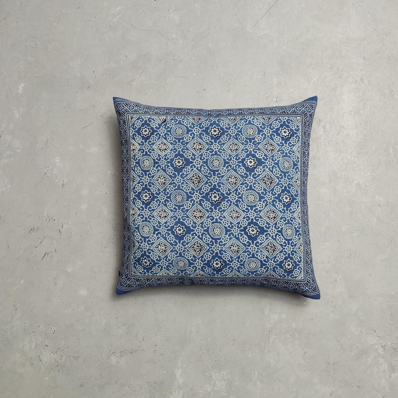 Reversible Ajrakh Handblock Printed Cushion Cover CC79