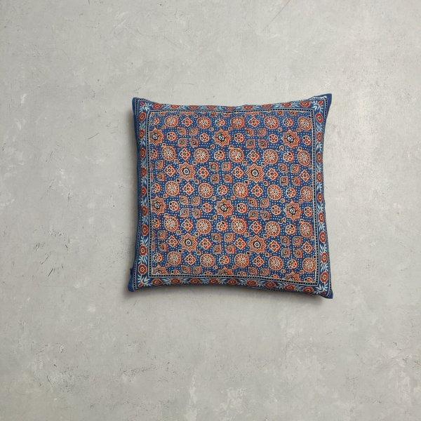 Reversible Ajrakh Handblock Printed Cushion Cover CC81