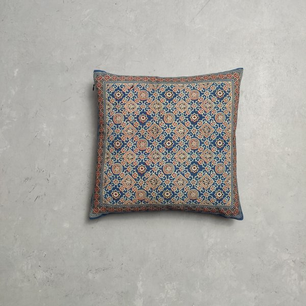 Reversible Ajrakh Handblock Printed Cushion Cover CC83