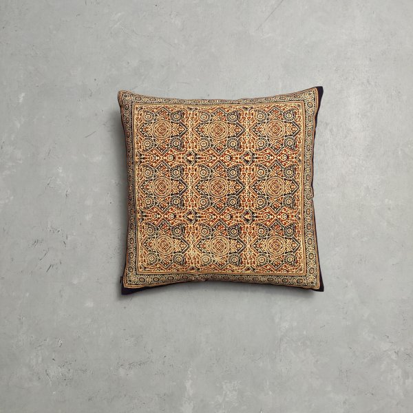 Reversible Ajrakh Handblock Printed Cushion Cover CC85