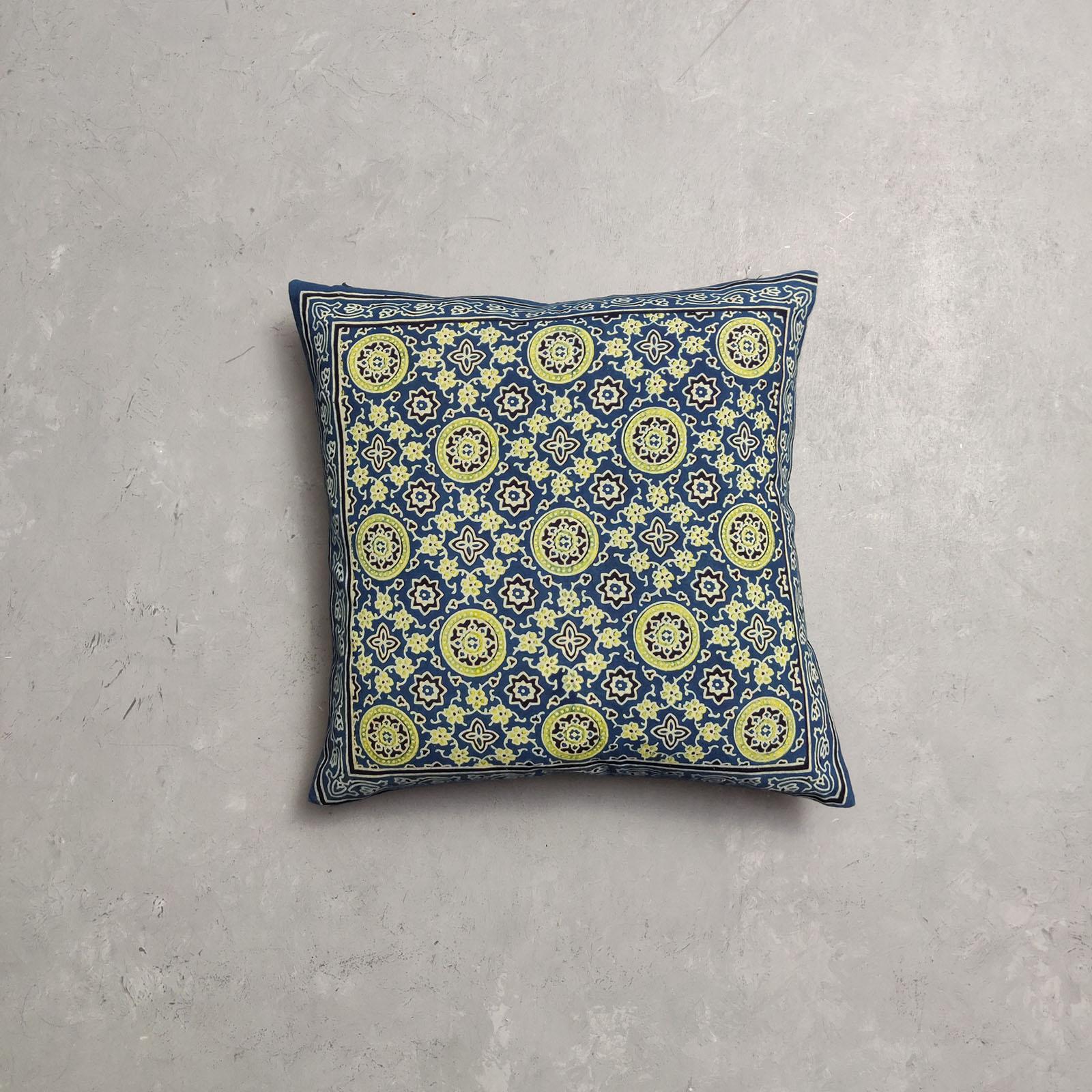 Reversible Ajrakh Handblock Printed Cushion Cover CC91