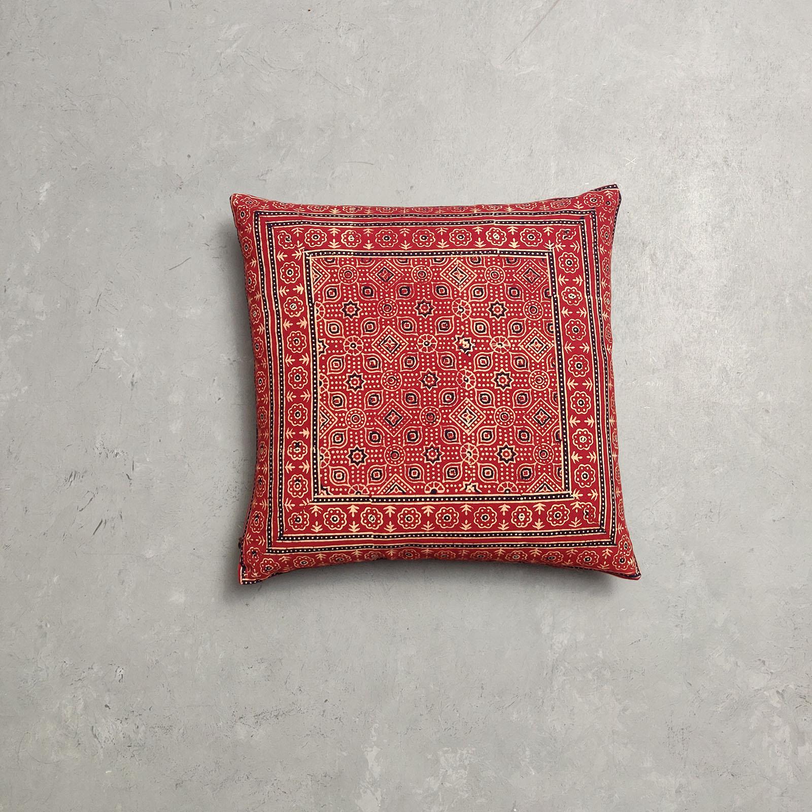 Reversible Ajrakh Handblock Printed Cushion Cover CC94
