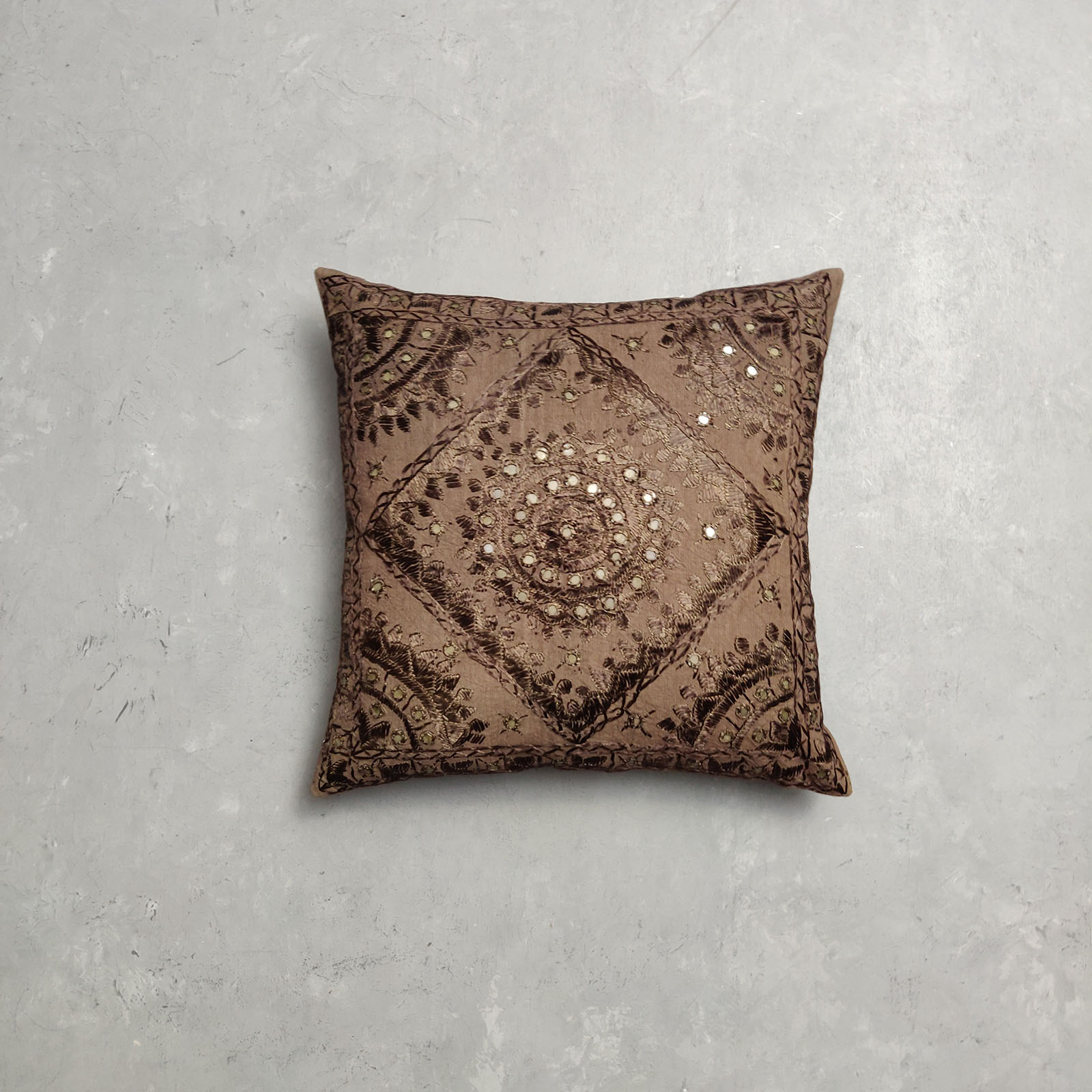 Embroidery Brown Cushion Cover CC3
