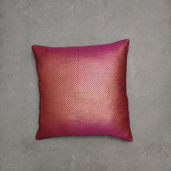 Reversible Handblock Brocade Cushion Cover 24CCP89