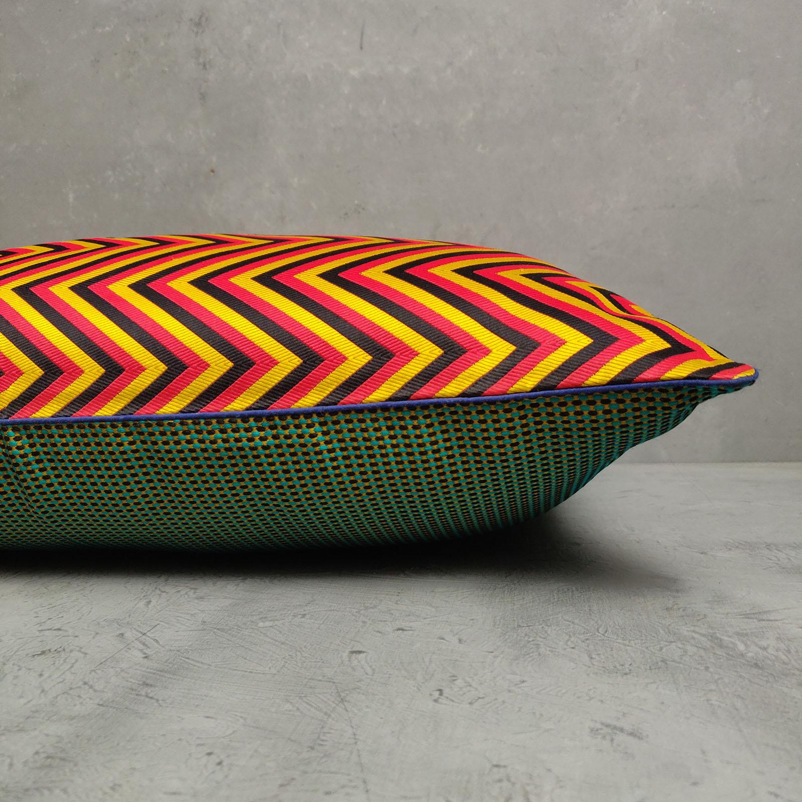 Reversible Handblock Brocade Cushion Cover 24CCP93