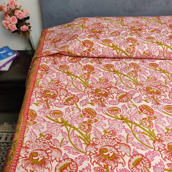 Floral Handblock Printed King Bedsheet K33