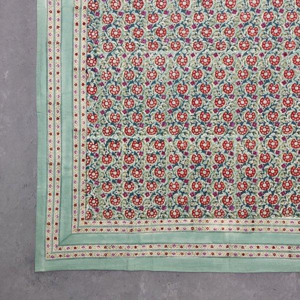 Floral Handblock Printed King Bedsheet K43
