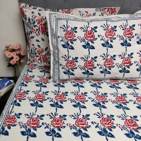 Floral Handblock Printed King Bedsheet K48