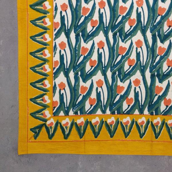 Floral Handblock Printed King Bedsheet K56