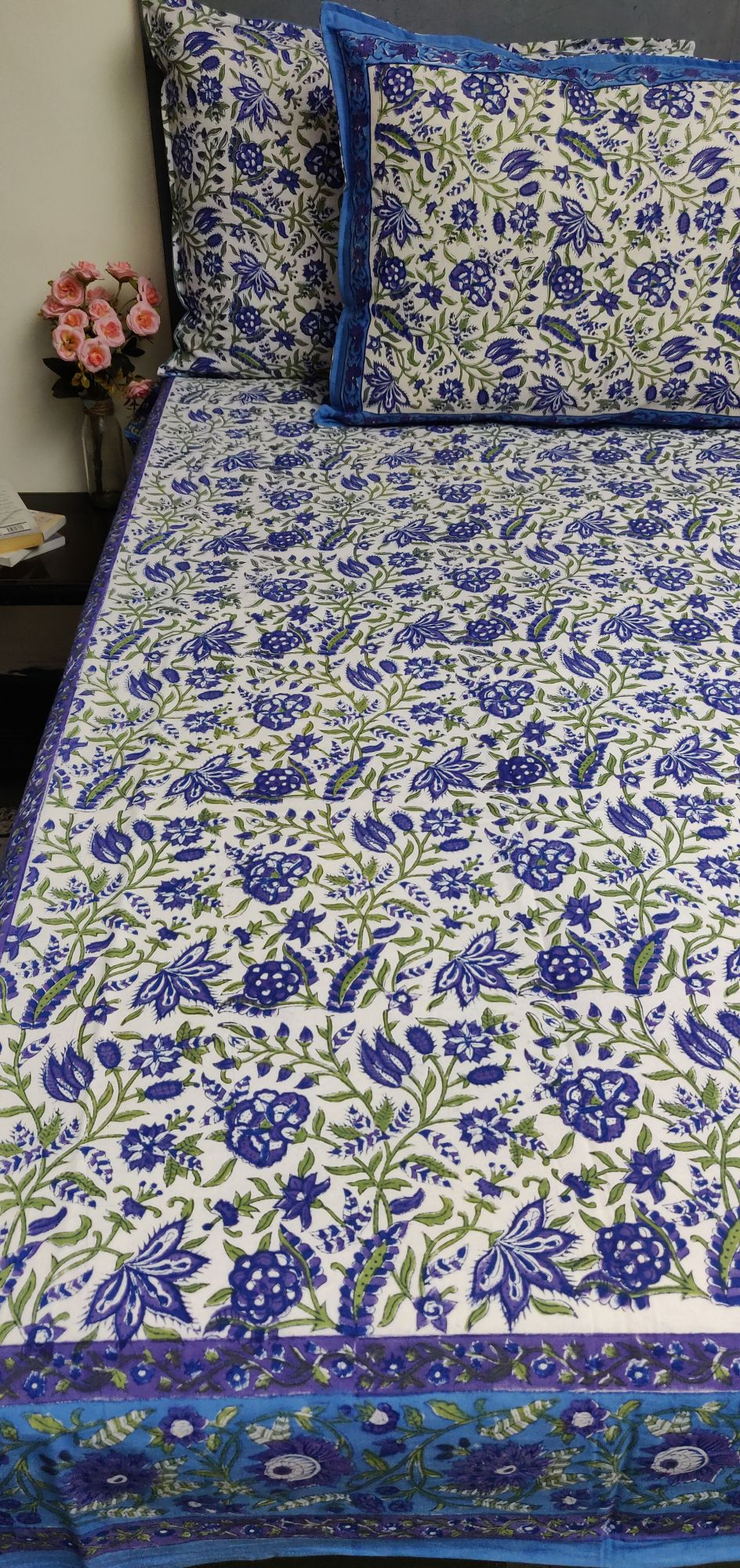 Floral Handblock Printed King Bedsheet K67