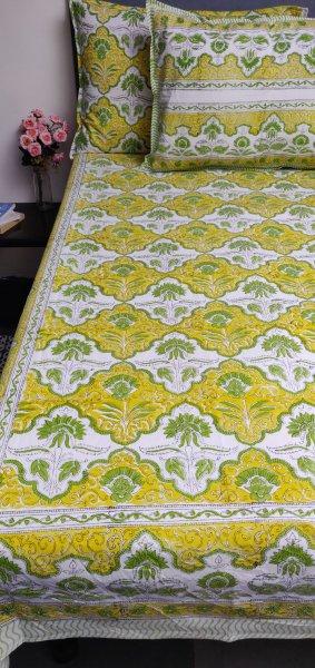 Floral Handblock Printed King Bedsheet K73