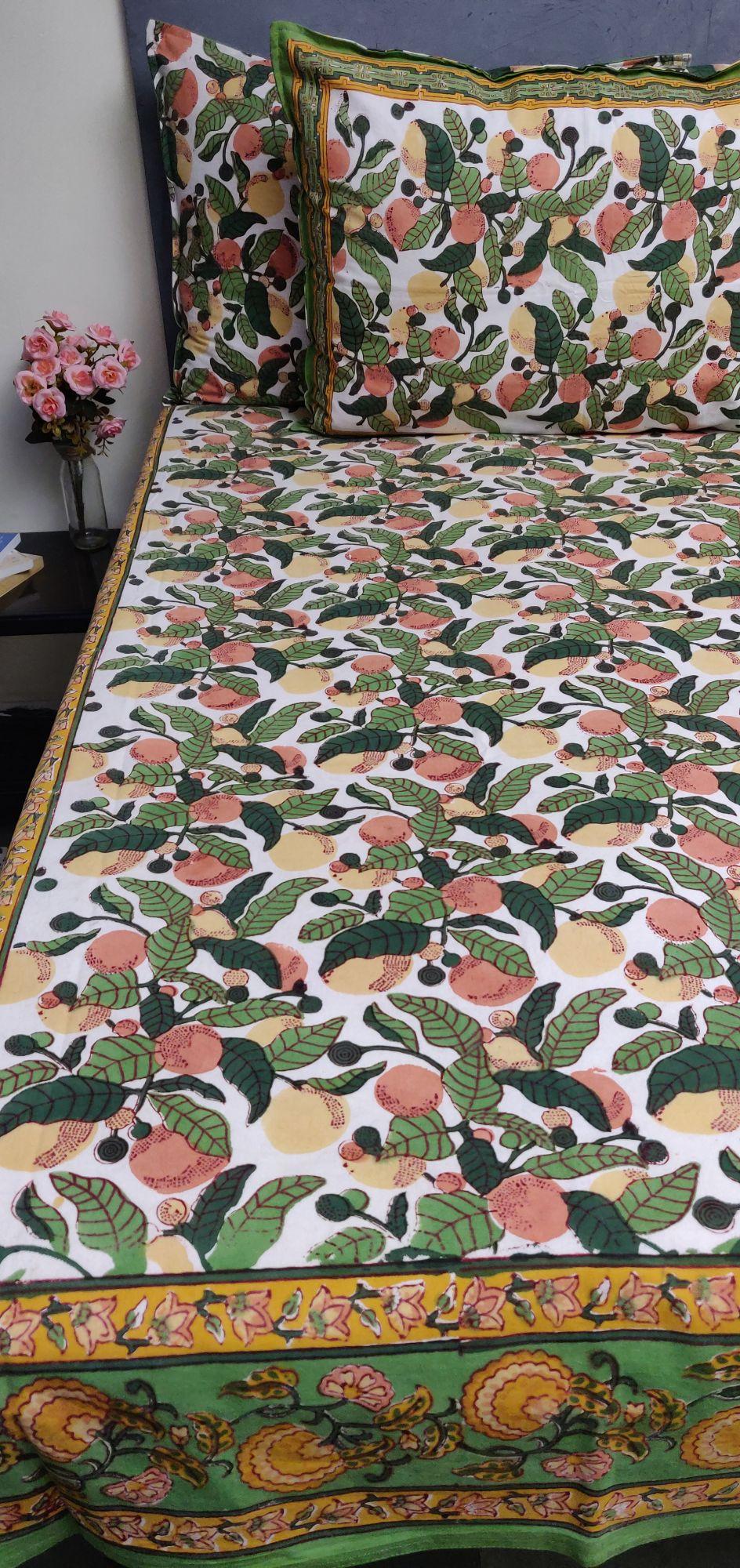 Floral Handblock Printed King Bedsheet K75