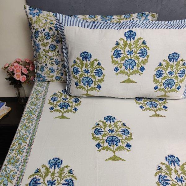 Floral Handblock Printed King Bedsheet K77