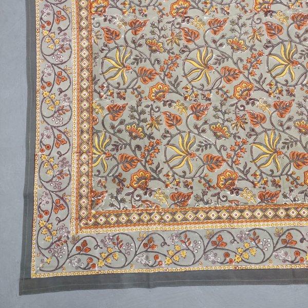 Floral Handblock Printed King Bedsheet K82