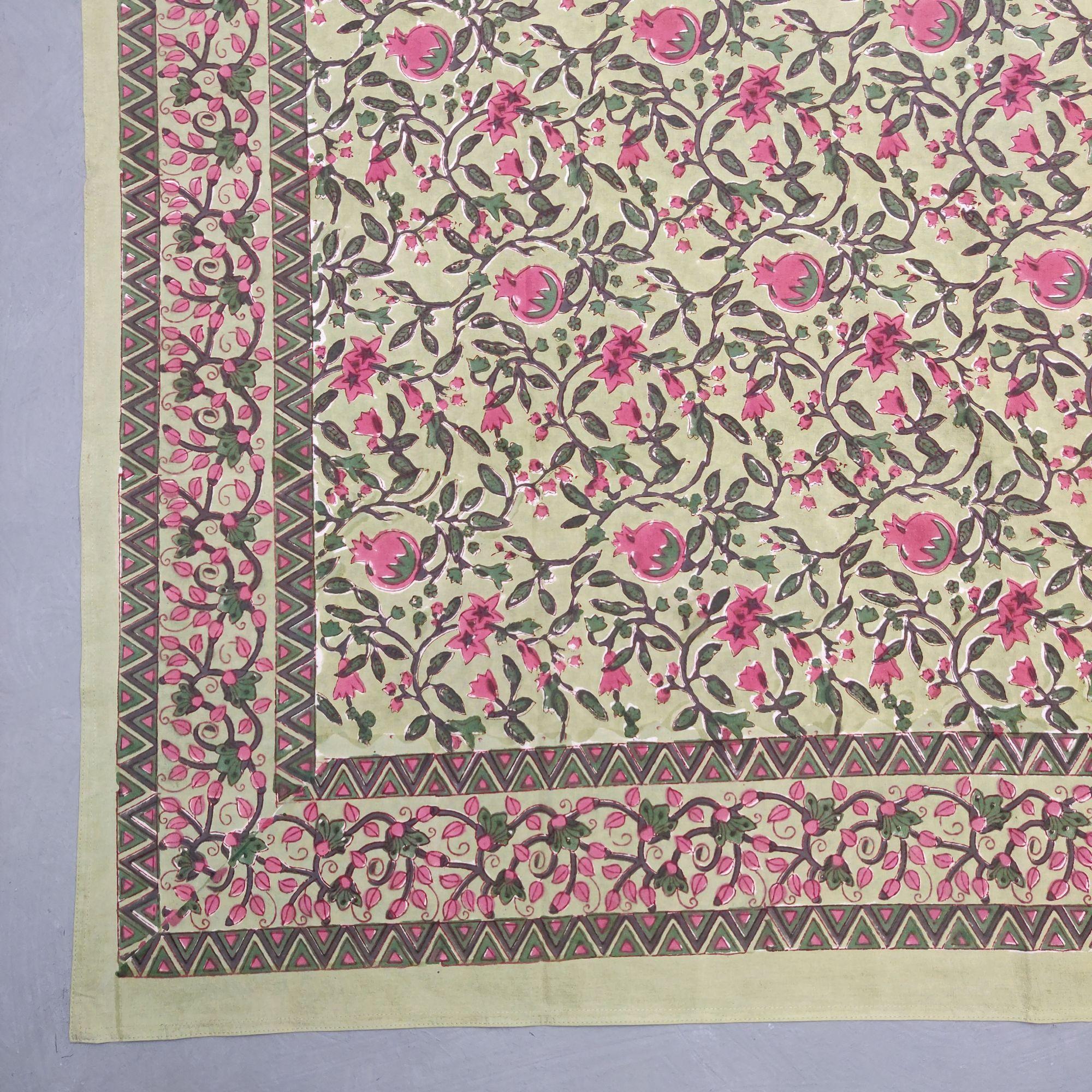 Floral Handblock Printed King Bedsheet K84