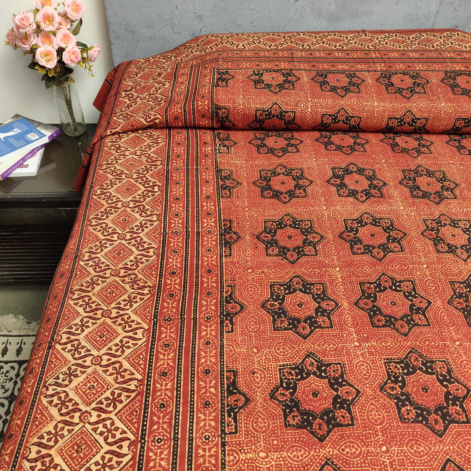 Ajrakh Handblock Single Bedsheet BHS120