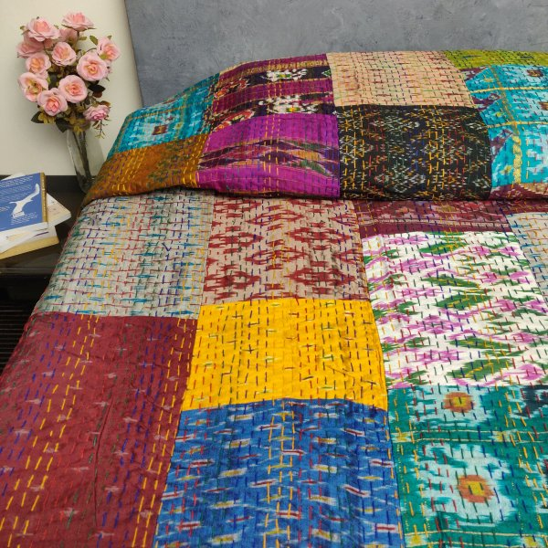 Silk Patola Kaantha Double Bedspread BKPD1