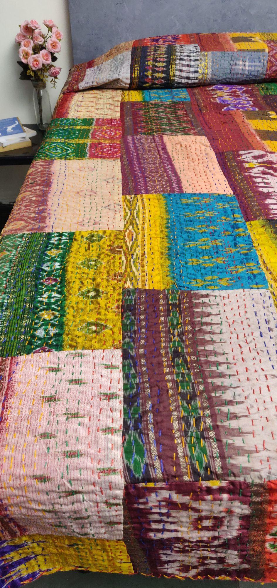 Silk Patola Kaantha Double Bedspread BKPD3