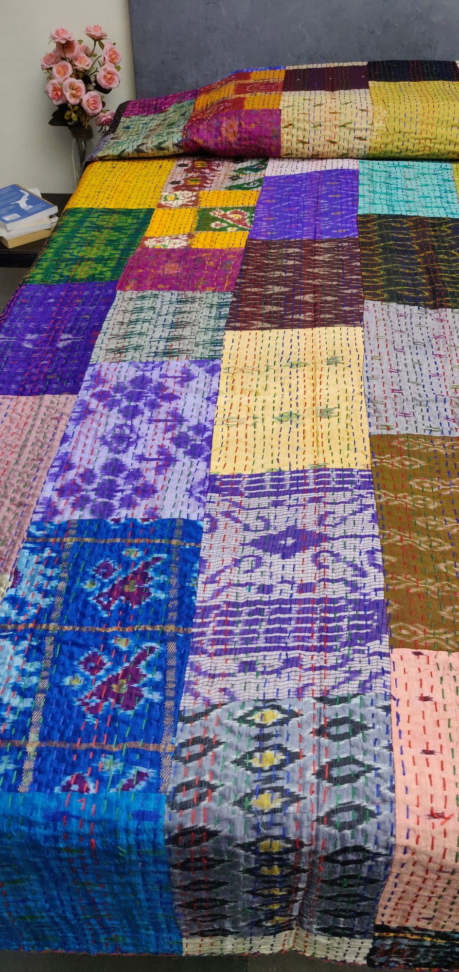 Silk Patola Kaantha Double Bedspread BKPD9