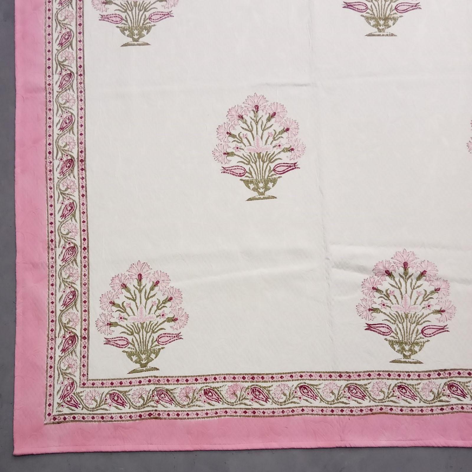 Pink Floral Jackquard Handblock Double Bedspread