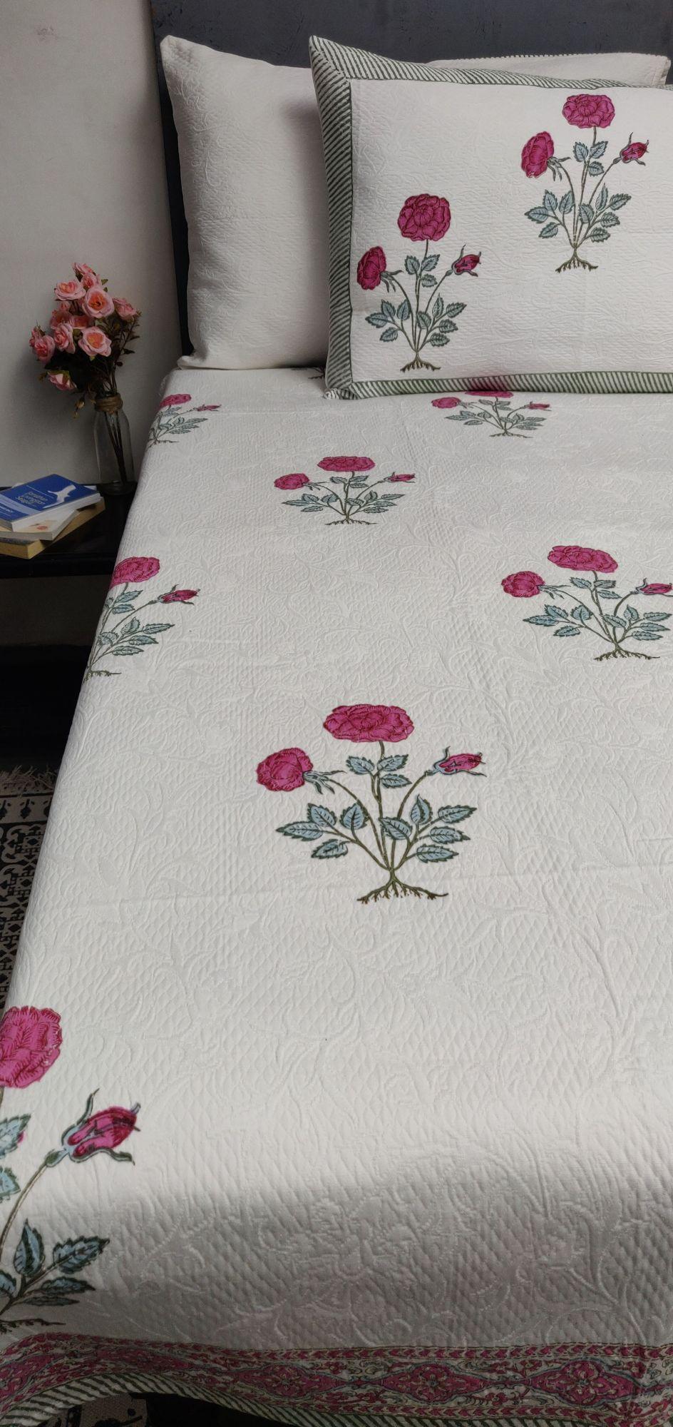 Rose Pink Floral Jackquard Handblock Double Bedspread