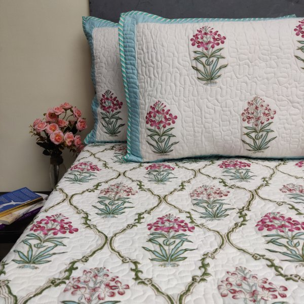 Floral Handblock Machine Quilted Double Bedspread MQD16
