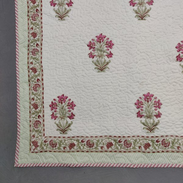 Floral Handblock Machine Quilted Double Bedspread MQD17
