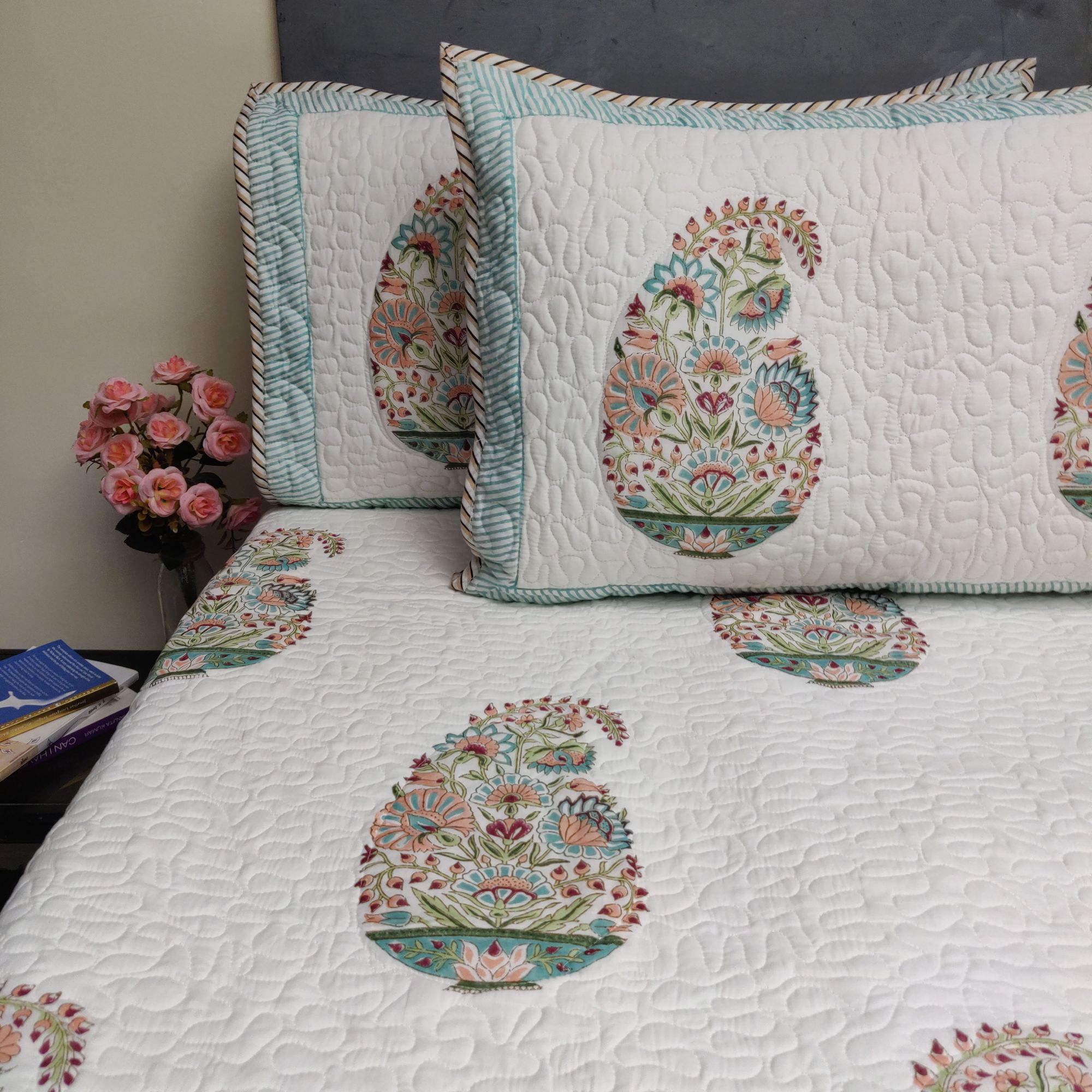 Floral Handblock Machine Quilted Double Bedspread MQD18