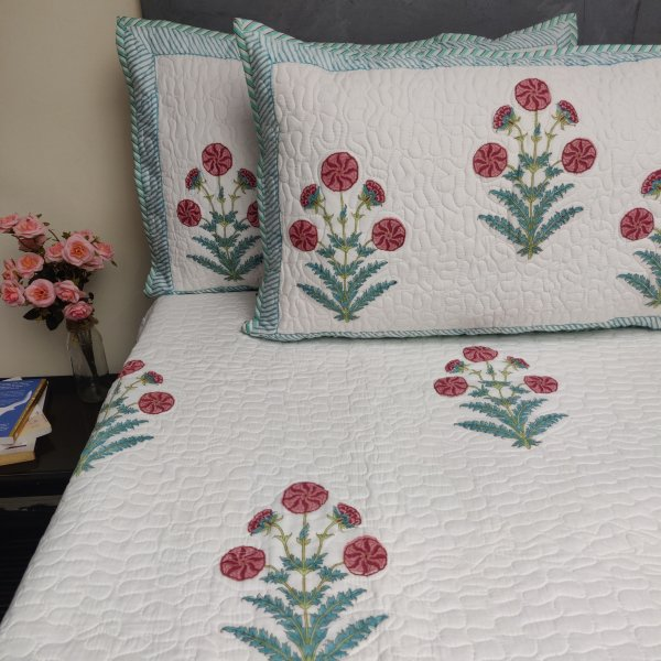 Floral Handblock Machine Quilted Double Bedspread MQD21