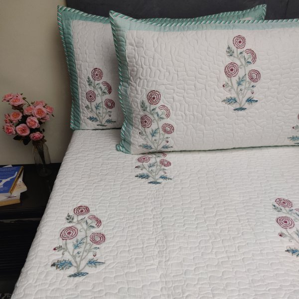 Floral Handblock Machine Quilted Double Bedspread MQD22