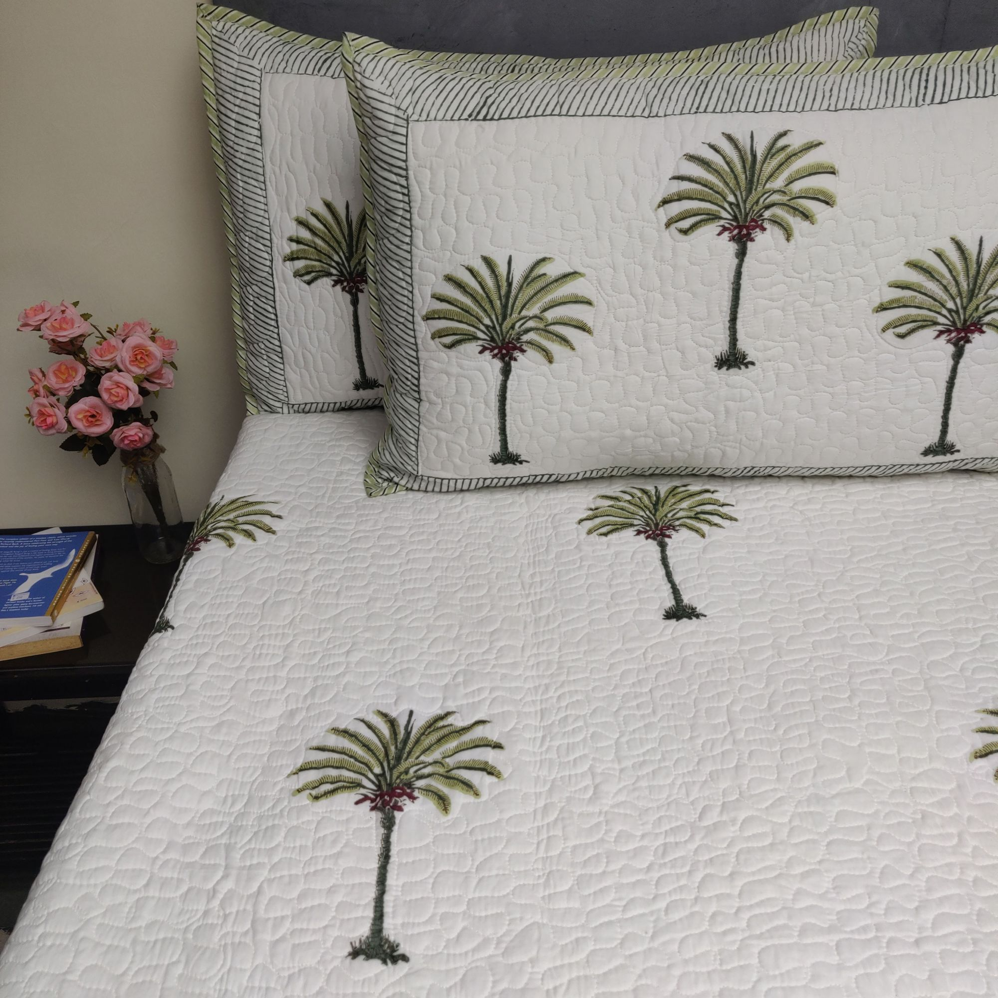 Floral Handblock Machine Quilted Double Bedspread MQD24