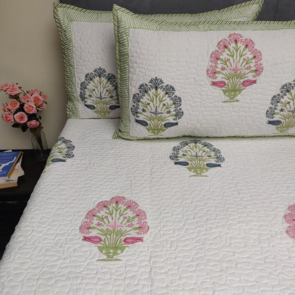 Floral Handblock Machine Quilted Double Bedspread MQD25