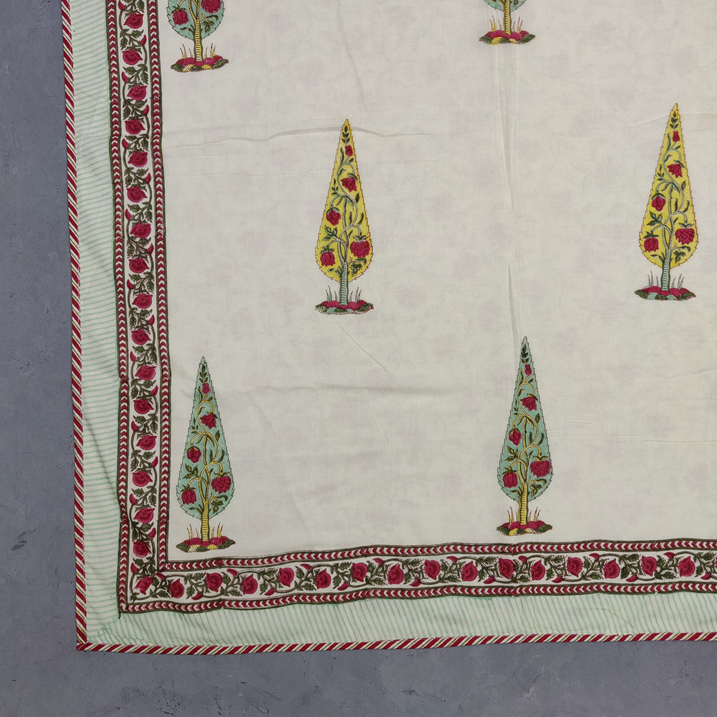 Yellow Pink Off White base Double Size Dohar