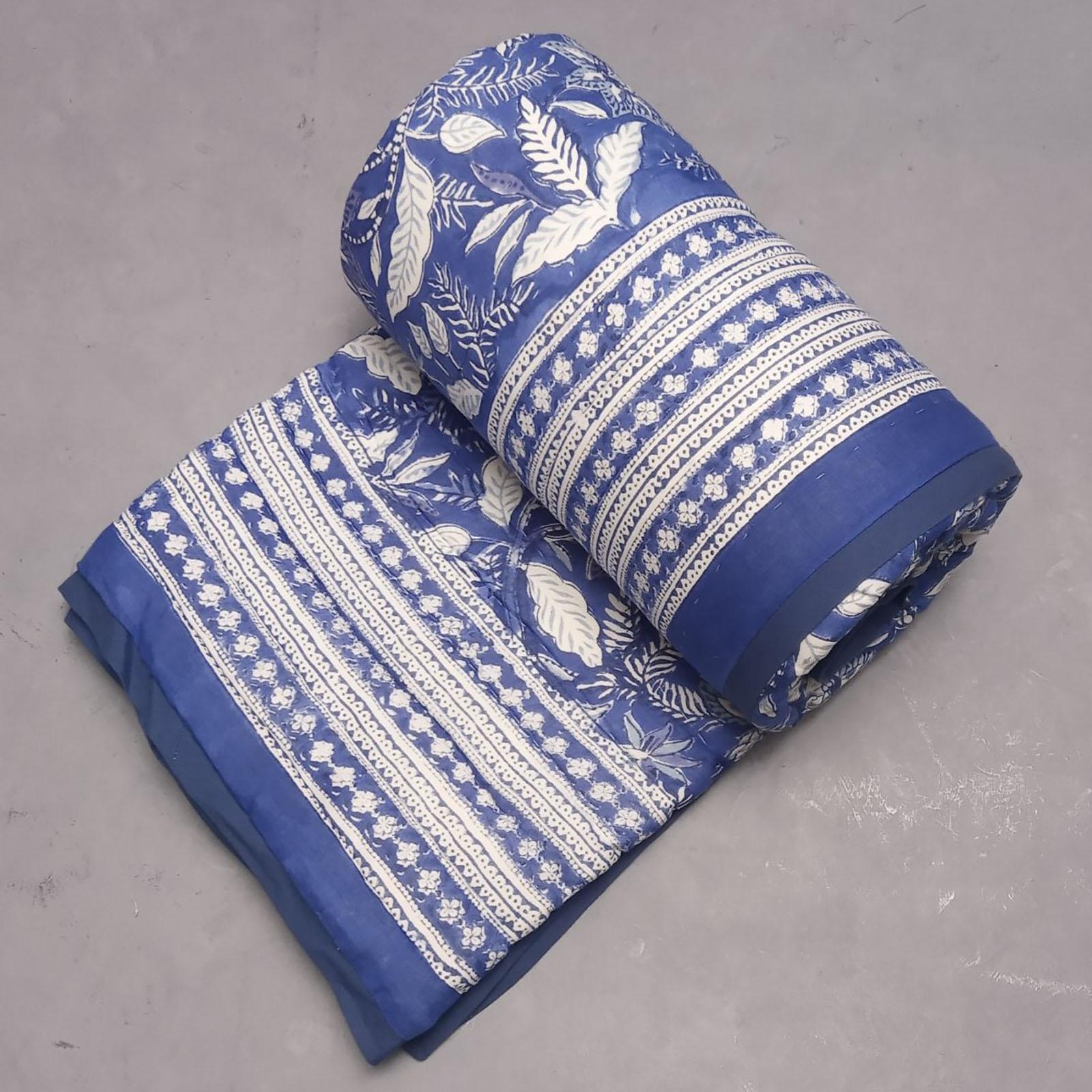 Blue Floral Single Size Quilt
