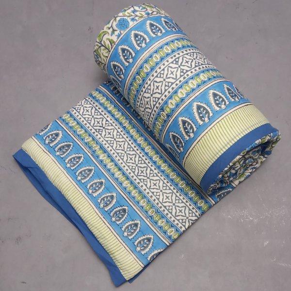 Blue Sabrina Jaal Boota Single Size Quilt