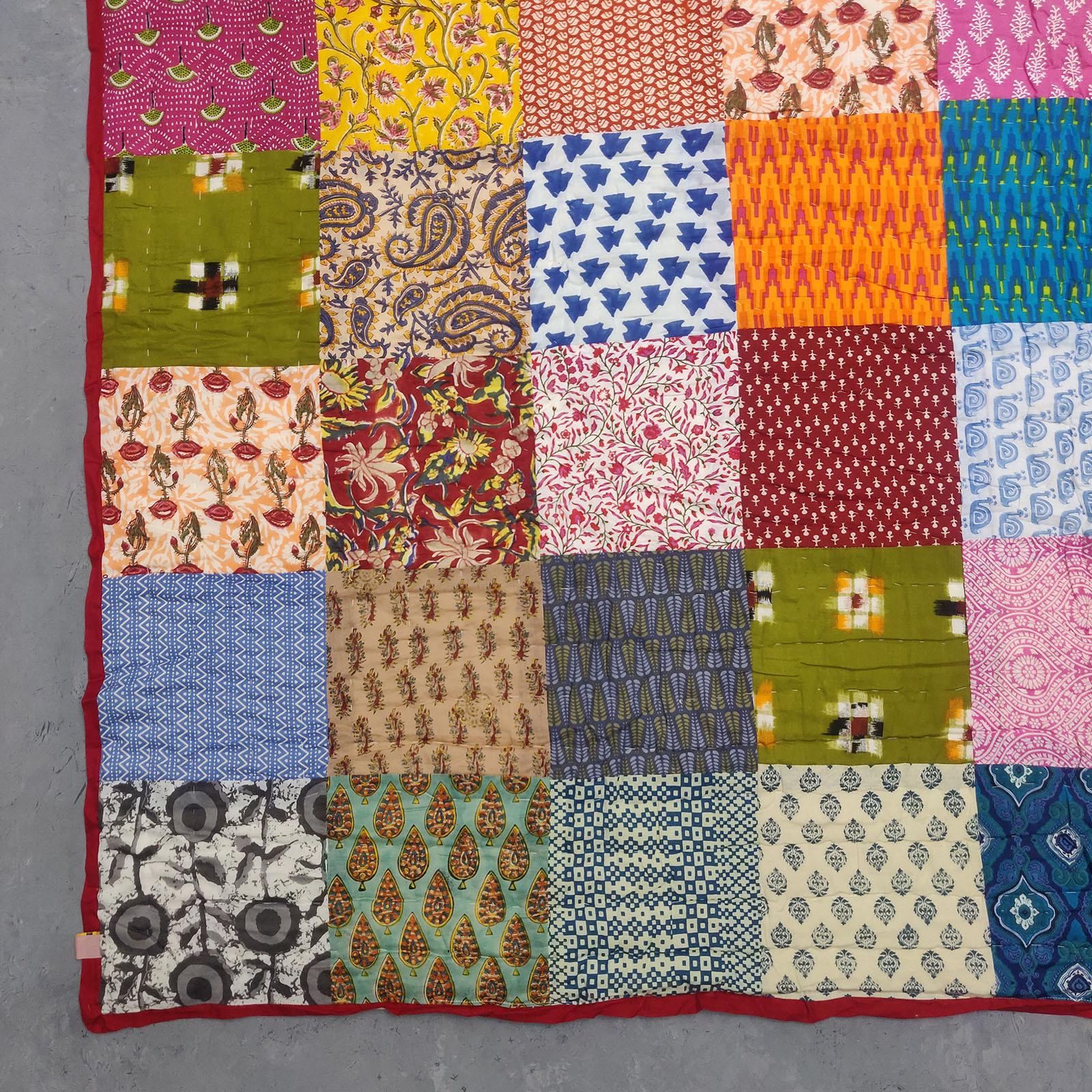 Single Size Patchwork Quilt Handblock HQS77