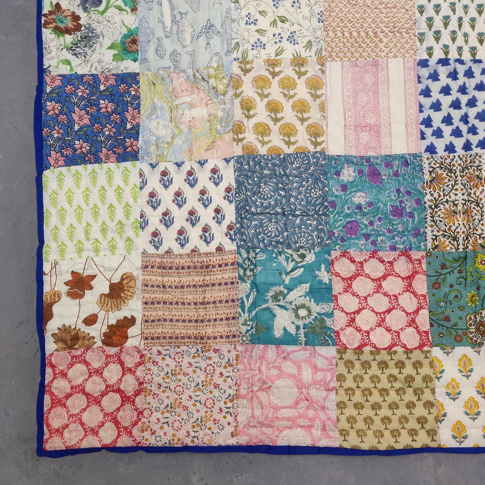 Single Size Patchwork Quilt Handblock HQS78