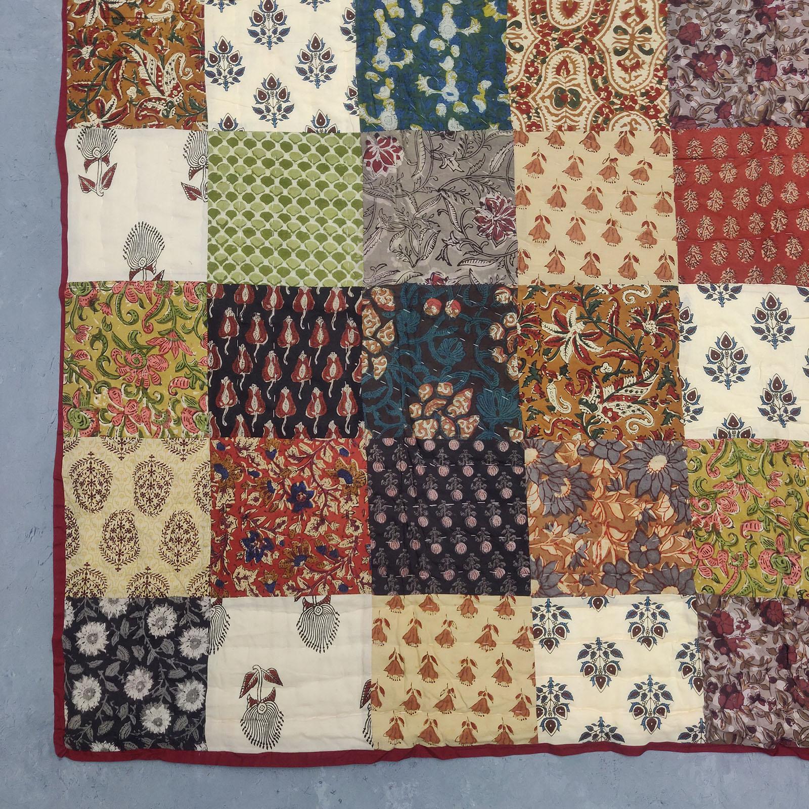 Single Size Patchwork Quilt Handblock HQS89